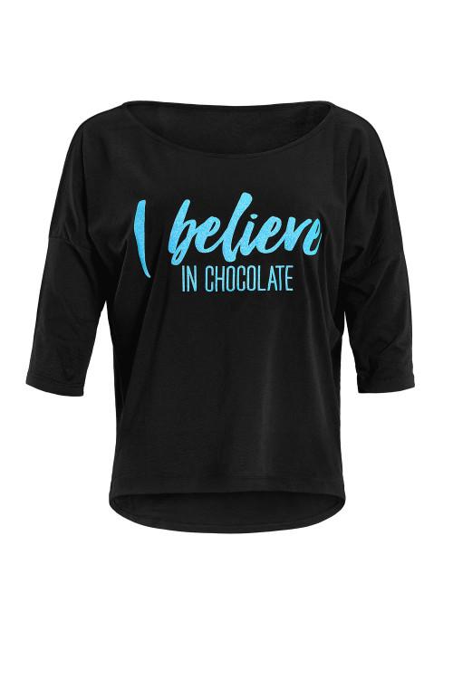"""Ultra leichtes Modal-3/4-Arm Shirt MCS001 mit neon blauem Glitzer-Aufdruck """"I believe in chocolate"""", schwarz"""