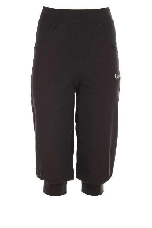 Luftig-legere 3/4-High Waist-Trainingshose WBE12, schwarz