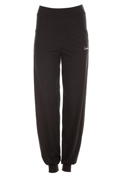 Luftig-legere High Waist-Trainingshose WH12, schwarz