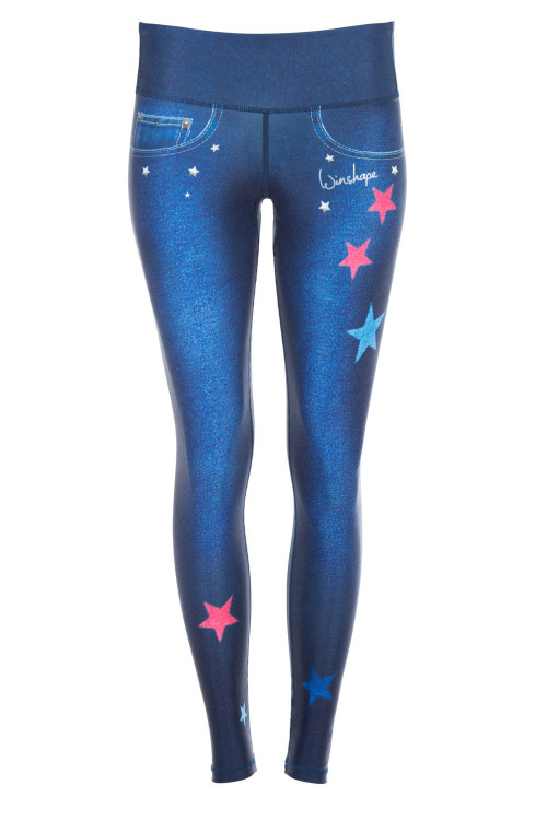 "Functional Power Shape Jeans Tights ""Reach the Stars"" AEL102, indigo blue"