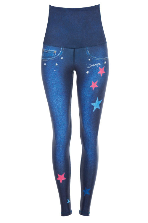 "Functional Power Shape Jeans Tights High Waist ""Reach the Stars"" HWL102, indigo blue"