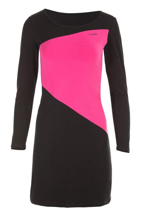 Zeitloses A-Linien-Minikleid WK3, schwarz/pink