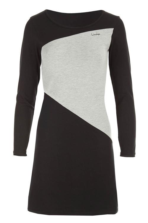 Zeitloses A-Linien-Minikleid WK3, schwarz/grey melange