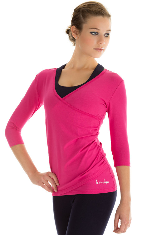 ¾-Arm Shirt in Wickeloptik WS3, pink