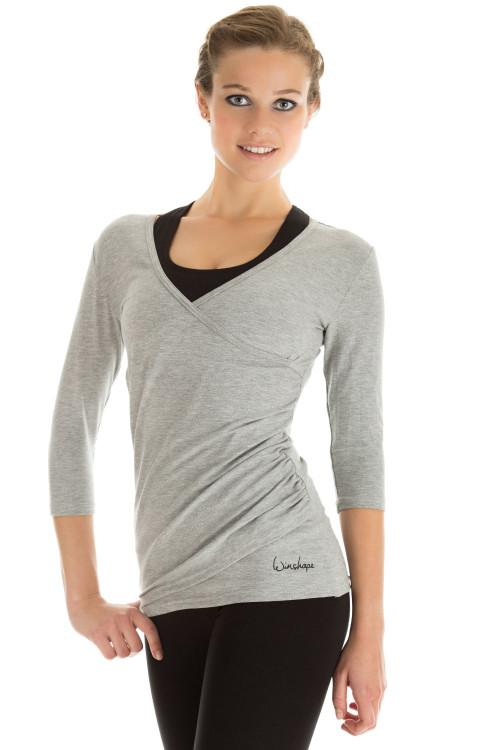 3/4-Arm Shirt in Wickeloptik WS3, grey melange