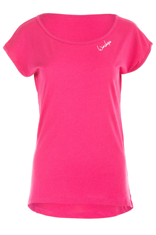 Ultra leichtes Modal-Kurzarmshirt mit abgerundetem Saum MCT013, Deep Pink