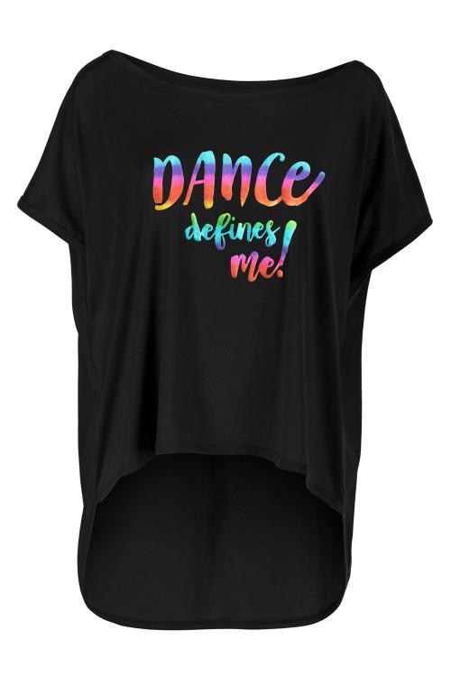 """Ultra leichtes Modal-Shirt MCT017 mit dem Aufdruck """"DANCE defines me!"""", schwarz"""