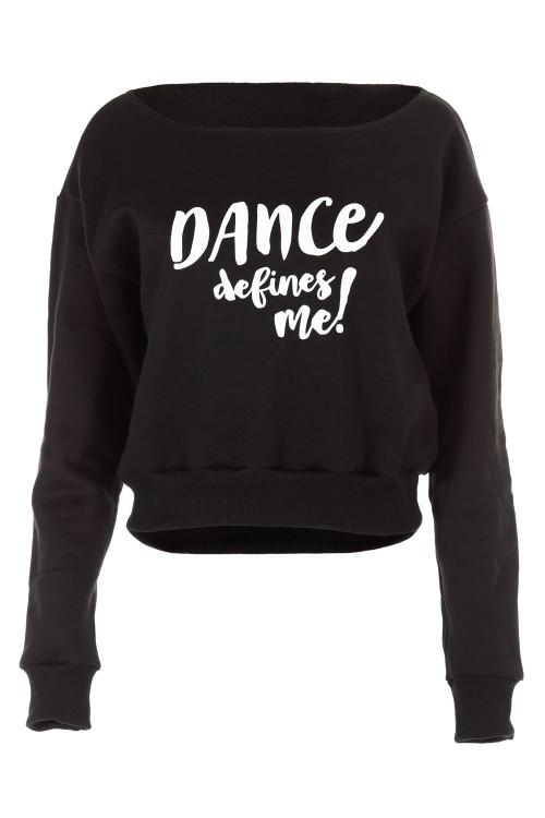 """Kurzes Sweatshirt """"Dance defines ME!"""" LS001, schwarz"""