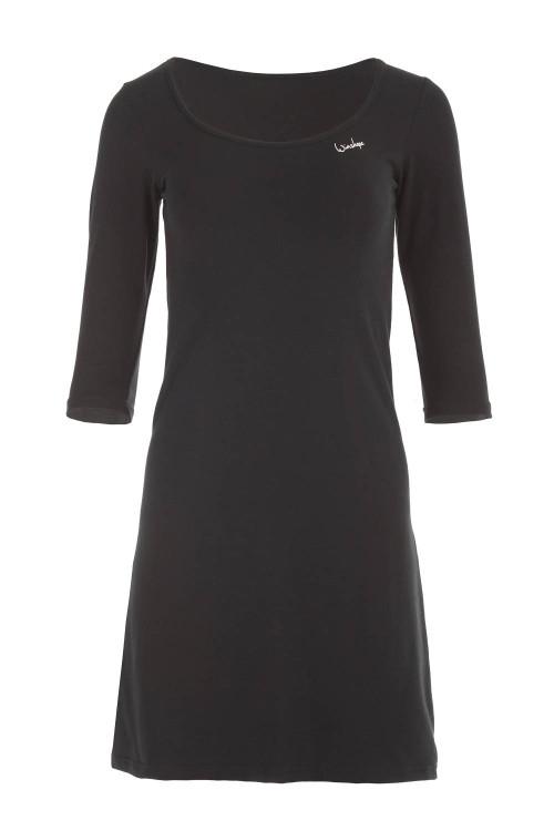 Zeitloses 3/4-Arm-A-Linien-Minikleid WK2, schwarz