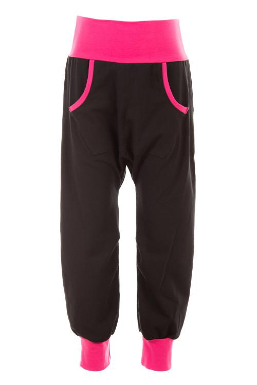 Boys&Girls Baggy-Hose mit praktischer Känguru-Tasche WKH1, schwarz/pink