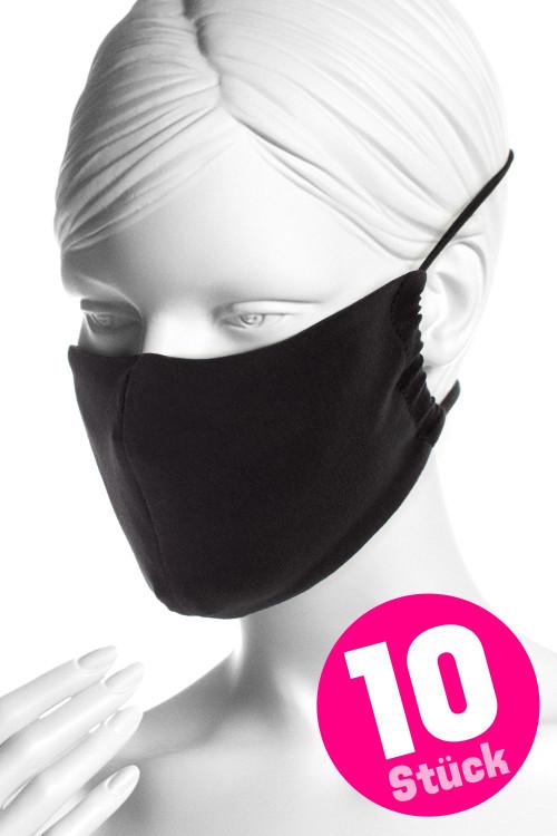 Wiederverwendbare Mund- und Nasenmaske WMSM1, schwarz, 10 Stück