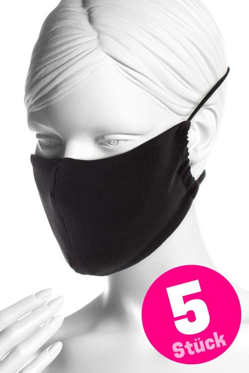 Wiederverwendbare Mund- und Nasenmaske WMSM1, schwarz, 5 Stück