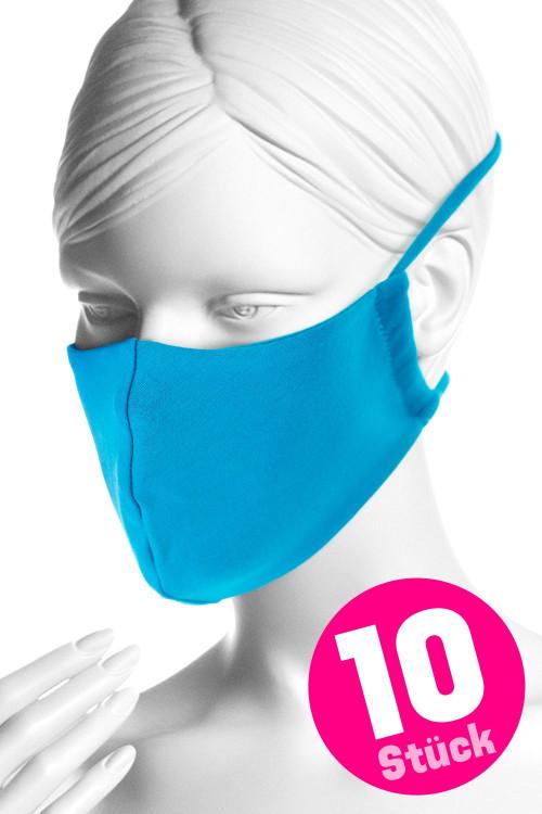 Wiederverwendbare Mund- und Nasenmaske WMSM1, türkis, 10 Stück