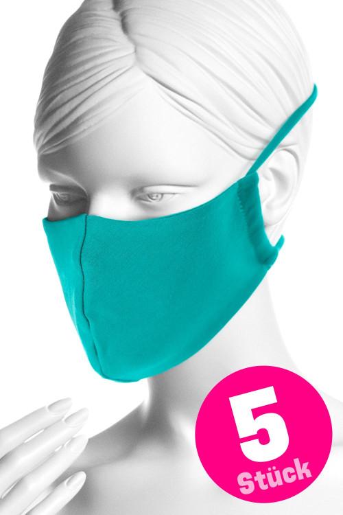 Wiederverwendbare Mund- und Nasenmaske WMSM1, ocean green, 5 Stück