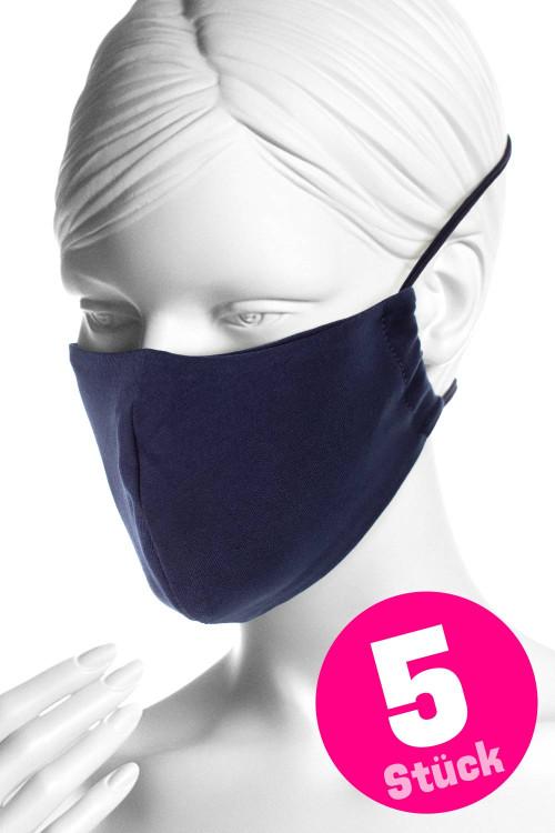 Wiederverwendbare Mund- und Nasenmaske WMSM1, night blue, 5 Stück