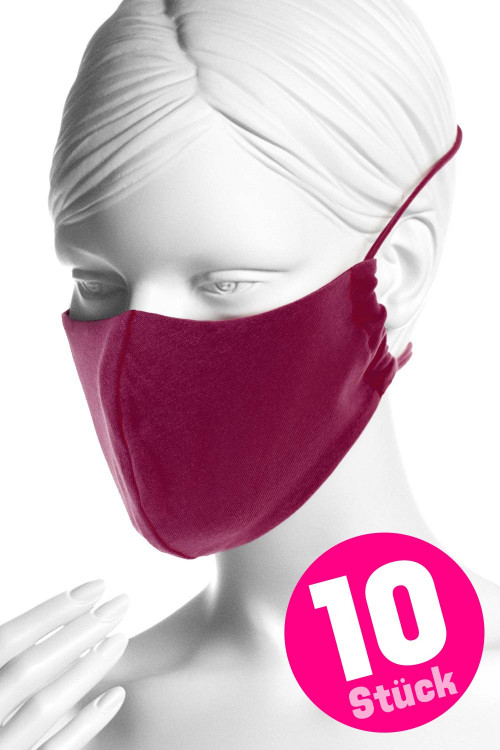 Wiederverwendbare Mund- und Nasenmaske WMSM1, berry love, 10 Stück