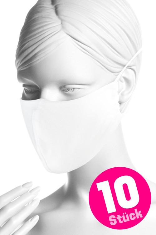Wiederverwendbare Mund- und Nasenmaske WMSM1, weiss, 10 Stück