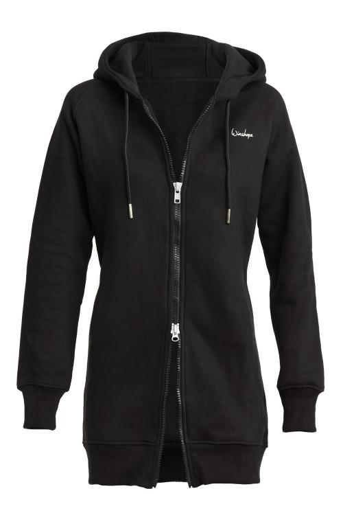 Lange, kuschelige Hoodie-Jacke J006 mit 2-Wege-Zipper, schwarz