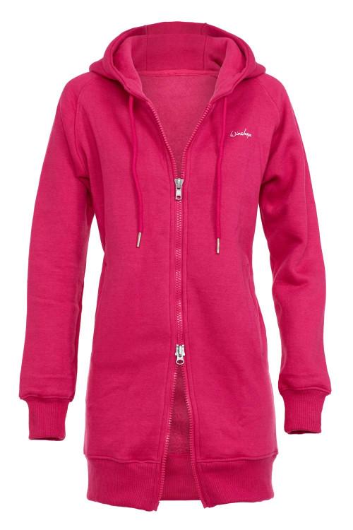 Lange, kuschelige Hoodie-Jacke J006 mit 2-Wege-Zipper, deep pink
