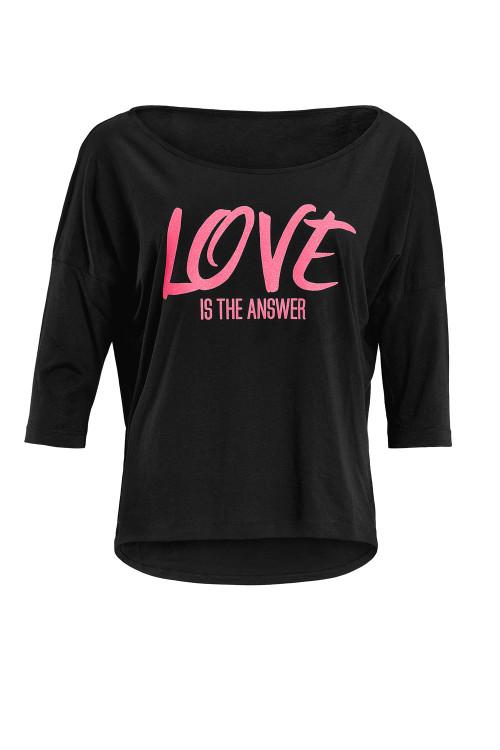 """Ultra leichtes Modal-3/4-Arm Shirt MCS001 mit neon pinkem Glitzer-Aufdruck """"Love is the answer"""", schwarz"""