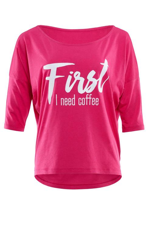 """Ultra leichtes Modal-3/4-Arm Shirt MCS001 mit weißem Glitzer-Aufdruck """"First I need coffee"""", deep pink"""
