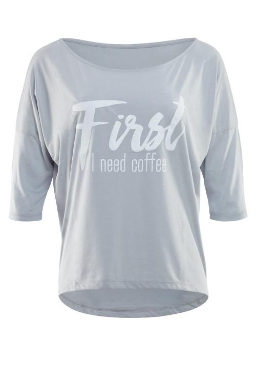 """Ultra leichtes Modal-3/4-Arm Shirt MCS001 mit weißem Glitzer-Aufdruck """"First I need coffee"""", cool grey"""