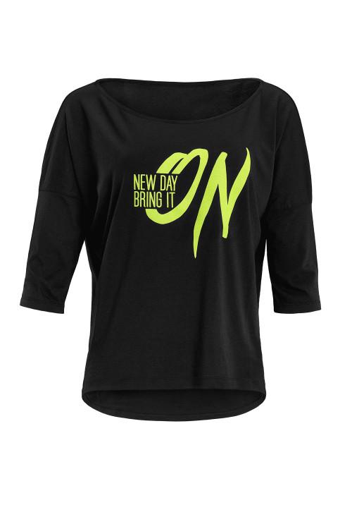 """Ultra leichtes Modal-3/4-Arm Shirt MCS001 mit neon gelbem Glitzer-Aufdruck """"New day bring it on"""", schwarz"""