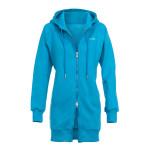 Lange, kuschelige Hoodie-Jacke J006 mit 2-Wege-Zipper, sky blue