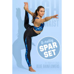 Sparset Sport-BH + High Waist-Leggings, blue rainflowers, 2-teilig