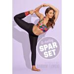 Sparset Sport-BH + Leggings, rainbow flowers, 2-teilig