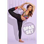 Sparset Sport-BH + High Waist-Leggings, rainbow flowers, 2-teilig